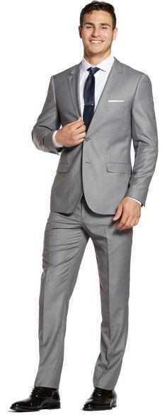 Alec is wearing a Slim Jacket and Slim Pants from The Groomsman Suit. Beach Wedding Groom Attire, Grey Suit Wedding, Tuxedo Wedding, Wedding Tuxedos, Mens Fashion Suits, Mens Suits, Men's Fashion, Light Grey Suit Men, Groom And Groomsmen Suits