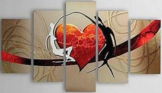 5 PCS Hand Painted Canvas Painting-Modern Abstract Lovers Heart Canvas Wall Art Ready to Hang Large Painting, Oil Painting Abstract, Oil Paintings, Olieverfschilderij Abstract, Abstract Landscape, Hand Painted Canvas, Canvas Wall Art, Framed Canvas, 3 Piece Art