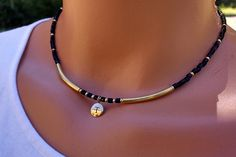 Gold and black personalized choker, beaded black and gold choker, gold and black personalized necklace, short beaded necklace, gifts for her by TamDavisDesigns on Etsy Seed Bead Jewelry, Boho Jewelry, Jewelry Crafts, Beaded Jewelry, Jewelery, Handmade Jewelry, Jewelry Design, Fashion Jewelry, Jewellery Box
