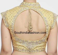 Collar Neck Kundan Work Blouse – South India Fashion Collar Neck Kundan Work Blouse – Gold stand collar neck kundan work blouse with front opening and cut out on the Saree Blouse Patterns, Designer Blouse Patterns, Saree Blouse Designs, Blouse Designs High Neck, Fancy Blouse Designs, Dress Designs, Choli Designs, Princess Cut Blouse Design, Indie Mode