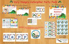Custom Printable Very Hungry Caterpillar Birthday Party Package. $30.00 USD, via Etsy.