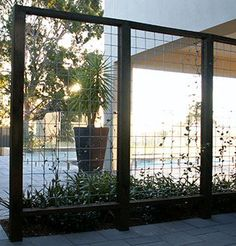 Screen planted with Trachelospermum jasminoides - Tookoo Landscape design in Adelaide South Australia Modern Landscape Design, Garden Landscape Design, Modern Landscaping, Backyard Landscaping, Garden Privacy, Garden Trellis, Garden Fencing, Fence Options, Moderne Pools
