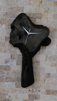 Black Wood Clock Ahşap Duvar Saati Ahşap