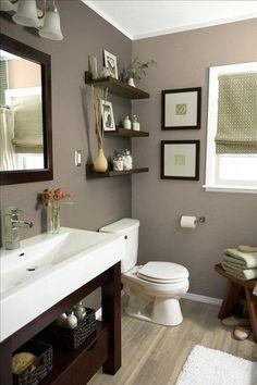 Une salle de bain taupe loin des traditionnels et impersonnels carrelages blancs pour une ambiance plus zen: