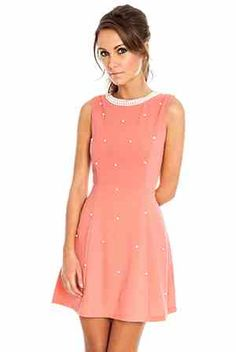 Coral diamonds and pearls dress