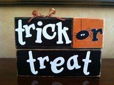 Wood Trick or Treat Blocks - Wood Halloween blocks - Seasonal Home Decor for fall, halloween, and thanksgiving decorating