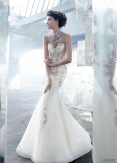 lazaro spring 2013 wedding dress art deco mermaid gown sweetheart style lz3306