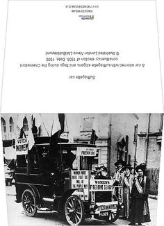 """Photo Greeting Card (other products available) - A car adorned with suffragette slogans and flags during the Chelmsford constituency election of 1908. Date: 1908 - Image supplied by Bubblepunk - #MediaStorehouse - 6""""x8"""" inch Greetings Card made in the UK"""