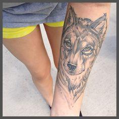Wolf tattoo by Taylor Jackson at Blue Devil Tattoos in Ybor City, FL.