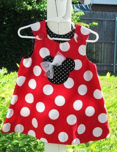 lindo vestido de mimi mouse en tela bolearda roja con blanco