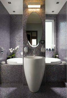 Très beau design de salle de bain. #pierreetgalet #vasquesurpied