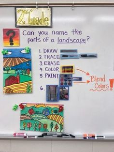 graders looked at the way artists use foreground, middle ground, and background to create depth in their work. We used these new skills to create landscapes of our own! Learning Goals:I c Classroom Art Projects, School Art Projects, Art Classroom, Elementary Art Rooms, Art Lessons Elementary, Teaching Elementary Art, Elementary Schools, 2nd Grade Art, Second Grade