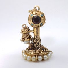 Vintage 14K Gold Pearl Garnet Turquoise Candlestick Telephone Charm
