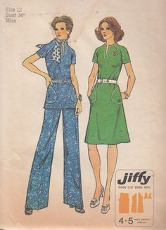 Simplicity 6273 Misses Jiffy Dress or Top & Pants Sewing Pattern - Womens Cloth Sewing Pattern - Uncut Sewing Pattern - Retro Sewing Pattern by SimplyCraftSupplies on Etsy