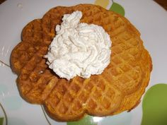 Lunches Fit For a Kid: Wacky Worldly Waffle Wednesday: Pumpkin Waffles with Spiced Maple Whipped Cream