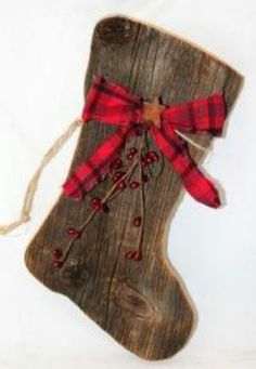 wooden stocking add leather flower or bow