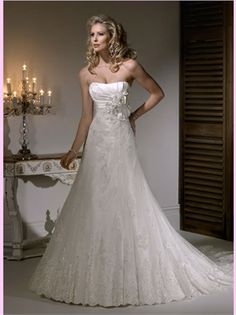 White A Line Strapless Lace Wedding Dress