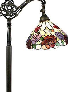 Gooseneck Floor Lamp, Floor Lamps, Rose Design, Cut Glass, Vintage Looks, Tiffany, Bronze, Ceiling Lights, Living Room