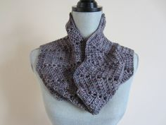 Cowl Neckwarmer, Crocheted, Very Soft, Varying Shades of Purple Lavender, Hand-Dyed Merino Wool Cashmere Blend, Textured, Reversible by TooCozy on Etsy
