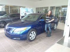 Mallory with her beautiful, royal blue 2009 #Toyota #Camry! #davidmaustoyota