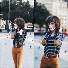 Zara Shirt, American Apparel Pants - Barcelona Stripes - Kiana McCourt