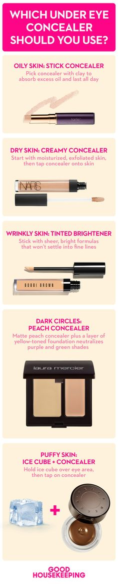 Make sure to get the right under-eye concealer, based on your skin type.