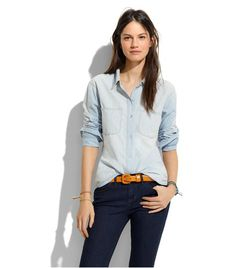 From Summer to Fall, the chambray button-down has become about essential as the denim jacket — but this lighter-weight denim topper is even easier to style.