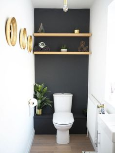 storage over toilet ~ storage over toilet + storage over toilet in small bathroom + storage over toilet ideas + storage over toilet small spaces Bathroom Interior, Modern Bathroom, Minimal Bathroom, Bathroom Storage, Over Toilet Storage, Small Bathroom Paint, Bathroom Shelves, Bathroom Organization, Small Toilet Room