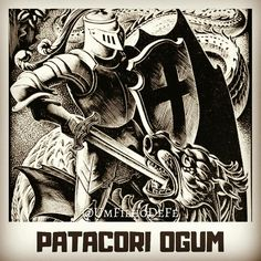Veja mais em meu insta: @UmFilhoDeFe  Patacori Ogum, Ogum Yê meu pai, São Jorge, Orixá. Instagram, Movies, Movie Posters, Saint George, Spirituality, Pai, Sons, Frases, Warrior Angel