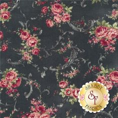 """Rose Collection RU2220-16E by Quilt Gate Fabrics : Rose Collection is by Quilt Gate Fabrics. This fabric features rose bouquets with swirls on a black background.Width: 43""""/44""""Material: 100% CottonSwatch Size: 6"""" x 6"""""""