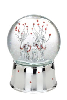 Reed & Barton Silver Plate Winter Deer Snow globe
