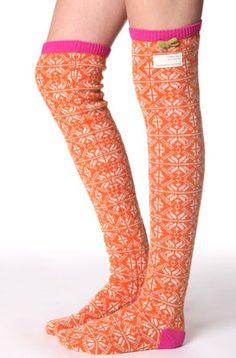 Odd Molly:  #832 jacquard long sock orange: Our beloved over the knee jacquard long socks in orange! (We call this color enlightened Peruvian orange:)     80% lambswool 20% nylon