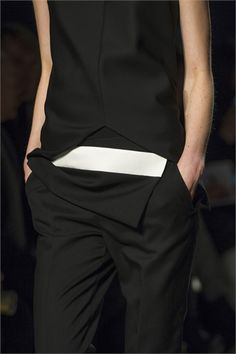 Smart black tailoring with graphic white stripe; fashion details // Narciso Rodriguez Fall 2013