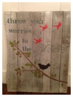 Throw your worries to the WIND wood pallet art by NatureRefined, $50.00
