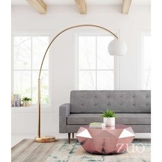 Griffith Brushed Brass Floor Lamp by Zuo Modern - Seven Colonial Arc Floor Lamps, Lamp, Brass Floor Lamp, Contemporary Light Fixtures, Flooring, Lamps Living Room, Floor Lamps Living Room, Zm Home, Modern Arc Floor Lamp