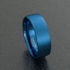 Men Wedding Rings Tungsten Wedding Band Blue Men's Ring Brushed by Sydneykimi Mens Wedding Bands Blue, Wedding Men, Wedding Ring Bands, Luxury Wedding, Blue Wedding, Wedding Ideas, Wedding Stuff, Wedding Gifts, Mens Ring Designs