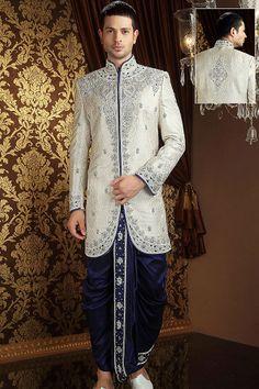 Off White Banarsi Art Silk Readymade Sherwani with Dhoti Online Shopping: Wedding Outfits For Groom, Wedding Dress Men, Wedding Suits, Wedding Wear, Groom Outfit, Groom Dress, Men Dress, Dhoti Pants For Men, Indian Men Fashion