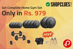 Shopclues offers Complete Home Gym Set only in Rs. 979. including 2 PC X 2.5 kg rubber weight plates, 4 pc x 5 kg rubber weight plates, 2 pc x dumbells rods 14″ along with rubber grip, 1 no x 3 ft ez curl bar,2 no x locks, 1 pair x leather gym gloves, 2 no x hand grippers.  http://www.paisebachaoindia.com/get-complete-home-gym-set-only-in-rs-979-shopclues/