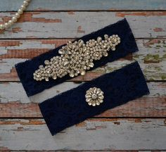 SALE-Wedding Garter-Navy Blue Lace Garter Set - Rhinestone Garter ...