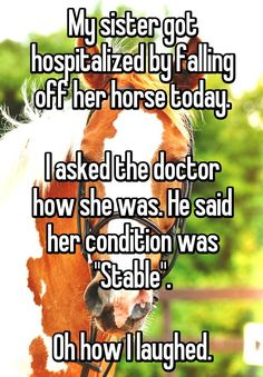 """My sister got hospitalized by falling off her horse today. I asked the doctor how she was. He said her condition was… http://ibeebz.com"