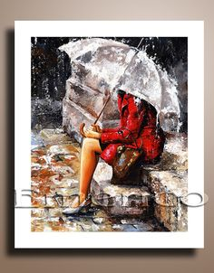 This art print is created from my original acrylic painting. (The original has been sold.)    Title: Rainy Day Artist: Emerico ( Imre Toth )