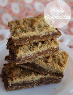 Salty Carmelitas, this delicious baking recipe is our families favorite treat! Its the perfect combination of caramel and chocolate! yum!