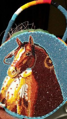 Shoshone Bannock made Beadwork horse made with size 13 and 15 cut beads.
