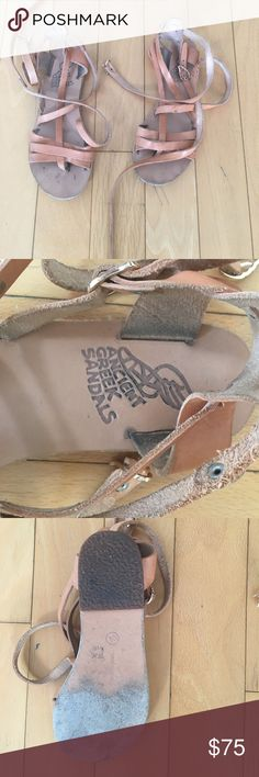 Ancient Greece Sandals Flat tan leather Grecian style lace up sandals Ancient Greek Sandals Shoes Sandals