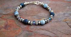 Blue Denim Agate Beaded Bracelet