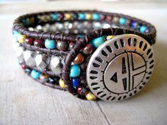 Navajo beaded leather cuff, via Etsy.