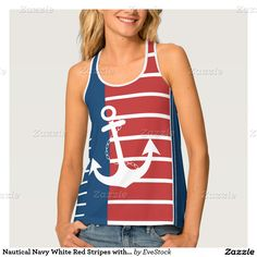 Nautical Navy White Red Stripes with Anchor Tank Top