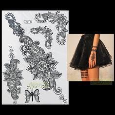 1 UNID Flash de Moda Del Tatuaje Impermeable Mujeres Negro Henna BJ014 Joya de Encaje Sexy Secret Brazo Cuerpo Arte Flor Tatuaje Temporal etiqueta