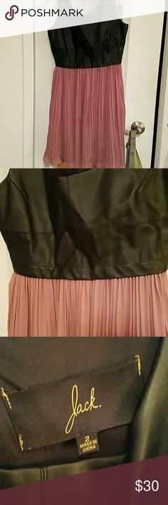 Jack by Bb Dakota faux leather pink dress Wore twice. Size 2. Jack by Bb Dakota. Faux leather top and flowing skirt. Really pretty but too tight on me and I found a 4 on poshmark so I'm returning the favor by listing this one! Jack by BB Dakota Dresses Midi
