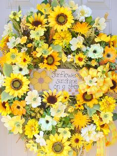 Spring Summer Sunflower Sunshine Garden Wreath-Bright Colorful-Great Gift and Free Shipping